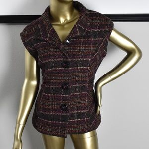 CABI Brown Tweed Vest Blazer w/Tie Size Medium M